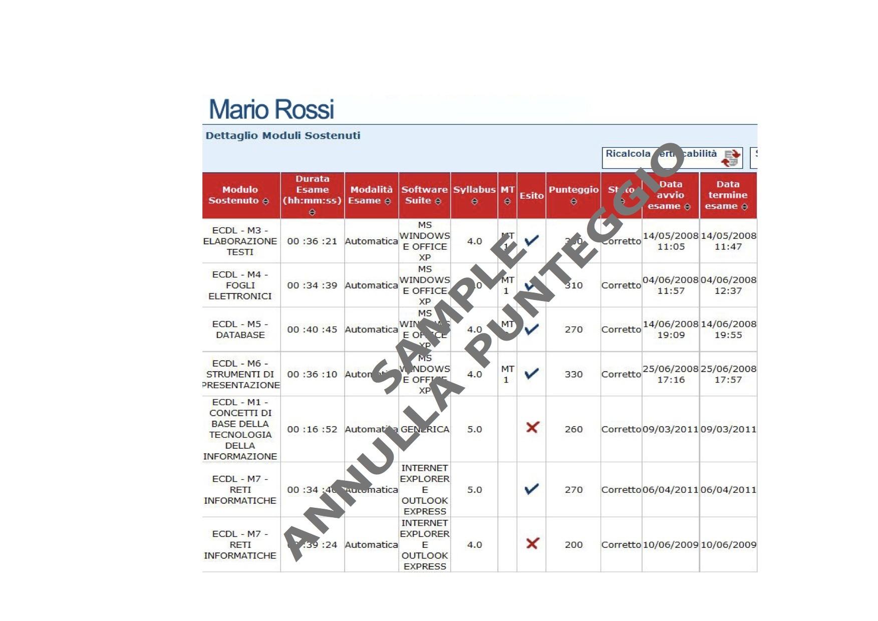Annullamento punteggio esame ECDL
