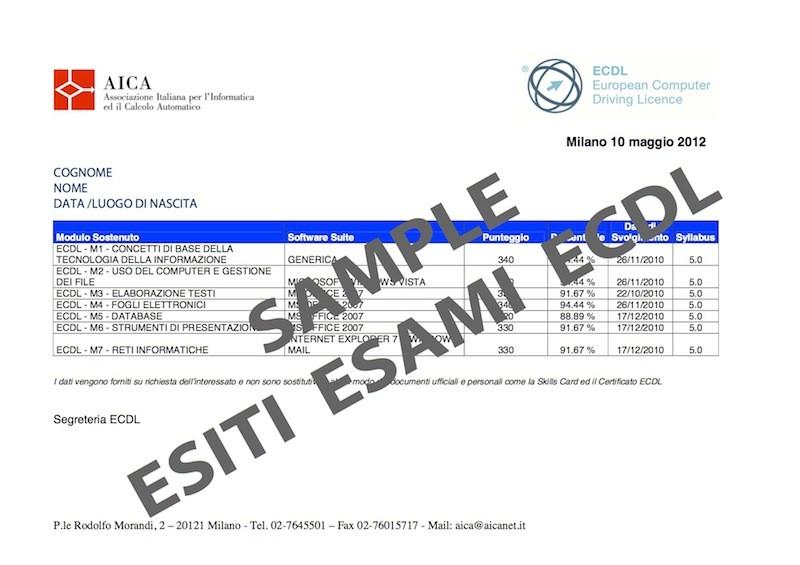 Richiesta dettaglio esami ECDL